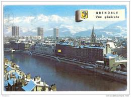 E342 38  GRENOBLE Quais De L'Isere Téléphérique De La Bastille Et Chaine De Belledonne  1975 Cachet Timbre - Grenoble