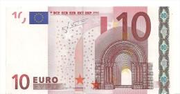 Italy Letter J EUR 10 Printercode J006 Trichet UNC (very Light Roller Mark) - EURO