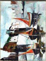 T-Huile Port Breton Barques De Pêche En Marée Basse-non Encadré- - Oils