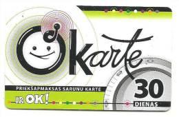 Latvia  Lettland / Lettonia Telefonkarte 2009 - 30 Days Prepaid Card Used - Latvia