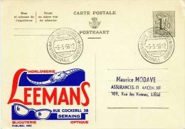 BELGIEN 1956 - 1,2 F Ganzsache Auf Werbe Postkarte Leemans SoSt Int.Jaarbeurs - Enteros Postales