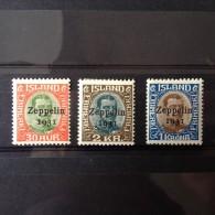 Islande Poste Aérienne Zeppelin YT N° 9/11 MH * . Bonne Série Cote 115 Euro - Airmail