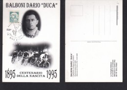 Italy: BALBONI DARIO 'DUCA', Birth Centenary, Special Card With Cancellation - Cycling