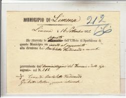 DE272-1872 Municipio Di LIMENA (bl)-RICEVUTA Da UFFICIO SPEDIZIONI Del MUNICIPIO Per Invito Al Pagamento-firma Con CROCE - Italien