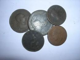 Gran Bretaña Lote 5 Monedas De 1/2 Penique Y 1 Penique 1797-1826 (5418) - 1662-1816 : Acuñaciones Antiguas Fin XVII° - Inicio XIX° S.