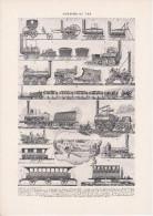"Planche "" Chemins De Fer "" Recto / Verso / Historique Des Chemins De Fer / Schéma Gare, Train, Wagons, Locomotives ... - Ferrovie"