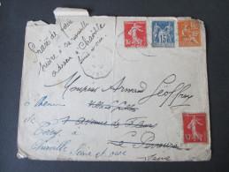 Dreifarben Frankatur 1928 Brief Nach Charville Mit 7 Stempeln. Papeterie J. Horde Le Perreux - Sur Marne (Seine) - 1900-29 Blanc