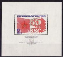 29-747 // CSSR - 1976  55 YEARS  COMMUNIST   PARTY  BLOCK Mi 32 ** - Blocs-feuillets