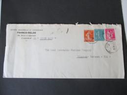 Dreifarben Frankatur 1938 Brief In Die USA Mit Der SS Queen Mary. Franco-Belge Paris - Windsor (Vermont) - Briefe U. Dokumente