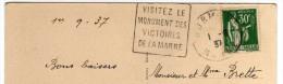 """Oblitération Daguin Marne Dormans """"Visitez Le Monument Des Victoires De La Marne"""" 1937 - Mechanical Postmarks (Other)"""