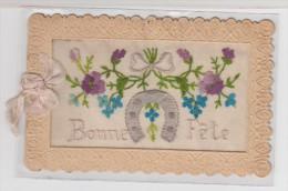 CARTE BRODEE Avec Fleurs Et Fer à Cheval + Ruban Rose - Bonne Fête - Brodées