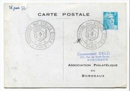 !!! ENTIER POSTAL TSC 8F MARIANNE DE GANDON CONGRES DE BORDEAUX CACHET KERMESSE AUX ETOILES - Entiers Postaux
