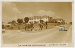 Real Photo U.S. Naval Base Marine Barracks Guantanamo Bay Cuba American Car - Cuba