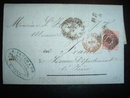 LETTRE (PLI) POUR FRANCE TP 40C OBL. 189 + 31 J.. 71 TORINO + GRIFFE PD + ENTREE 1 FEVR 71 ITALIE AMB. M.CENIS + VECCO - 1861-78 Victor Emmanuel II.
