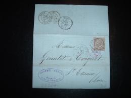 LETTRE (PLI) POUR FRANCE TP 30C OBL. 17-3-77 TORINO FERROVIA + ENTREE 18 MARS 77 ITALIE AMB. M.CENIS + SOLDATI NEVEU - 1861-78 Victor Emmanuel II.