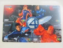 12call Prepaid Phonecard,Fantastic 4, Puzzle Set Of 4 ,used - Thailand