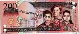 Dominican Republic 2007 200 Pesos Oro UNC Muestra Note - República Dominicana