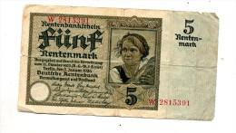Billet 5 Rentenmark - [ 3] 1918-1933 : Weimar Republic
