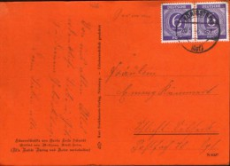 Germany/Soviet Zone- Priv.postcard Circulated In 1946 From The Soviet Zone Of Occupation,stamps Of 6 Pf In Pair - 2/scan - Zone Soviétique
