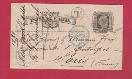 USA  //  ENTIER POSTAL  //  DE NEW YORK  //  POUR PARIS  //  3  OCT 1881 - Ganzsachen