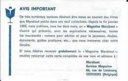 Encart Marabout Junior - Carte Réponse - Magazine Marabout - TBE - Books, Magazines, Comics
