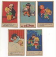 """Lot De 5 Chromos Publicité. """"La Milanaise"""". Enfants Sur Le Thème Des Cheveux, Poux.... - Trade Cards"""
