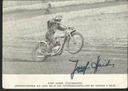 """Autogrammkarte  """"Josef Haider - Staatsmeister Speedwayrennen""""  Auf JAWA 500  (Motorradausstellung Bei Kastner & Öhler - Autogramme & Autographen"""