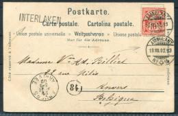 1902 Switzerland Lauterbrunnen Postkarte Interlaken Ambulant 15 Railway Bahnpost - Cartas