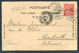 1900 Switzerland La Jungfraue Vue D'Interlaken Postkarte Interlaken Ambulant 15 Railway Bahnpost - Cartas