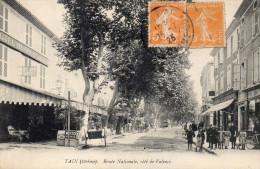 Cpa 1923, TAIN, Drôme, Route Nationale, Côté De Valence, Hôtel, Commerces, Animation,   (37.23) - Autres Communes