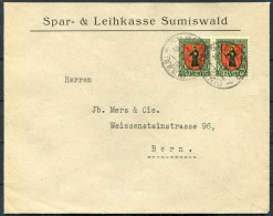 1924 Switzerland Spar & Leihkasse Sumiswald Bern Brief / 1923 Pro Juventute 10c Glarus Pair - Pro Juventute
