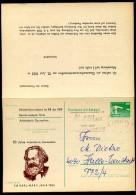 DDR P85-1a-83 C1-a Antwort-Postkarte Zudruck AK GANZSACHEN KARL MARX Halle Gebraucht 1983 - Karl Marx