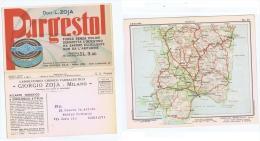 ZOJA ( MILANO ) CARTOLINA PUBBLICITARIA DOPPIA - CARTA GEOGRAFICA CAGLIARI -1932 - Commercio