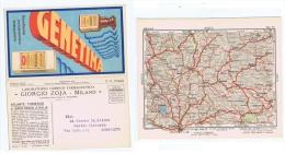 ZOJA ( MILANO ) CARTOLINA PUBBLICITARIA DOPPIA - CARTA GEOGRAFICA L'AQUILA -1932 - Commercio