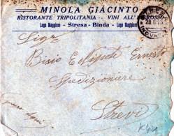 BUSTA POSTALE PUBBLICITARIA--MINOLA GIACINTO-RISTORANTE TRIPOLITANIA-VINI-STRESA -SPEDITA A STREVI - 1900-44 Vittorio Emanuele III
