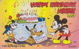 Télécarte Japon  / 110-193345 - DISNEY STORE - Chien Pluto & Anniversaire De MICKEY - Japan Phonecard Telefonkarte - Disney