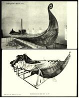 Oslo Museums-Schiffe  -  Gokstadskibet + Osebergskibet  ,  Ansichtskarten Ca.1910    (3288) - Barche