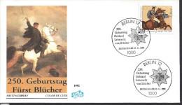 Germany 1992    Gebhard Leberecht Furst Blucher Von Wahlstatt  FDC  Mi.1641 - FDC: Enveloppes