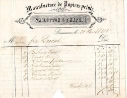LAUSANNE Manufacture Valloton Chapuis  Année 1871    D813/14   0614 - Suisse