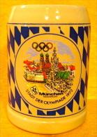 CHOPE A BIERE LOGO JEUX OLYMPIQUES STADT DER OLYMPIADE 1972 MUNCHEN MARIENPLATZ 0,5L - Verres