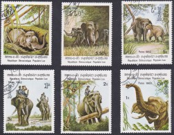 SERIE TIMBRES LAO 1982 ELEPHANTS - Olifanten