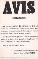 Am - CPM Affiche Avis Aux Officiers Français METZ 15 Novembre 1870 (Musée De L'Affiche Et Du Tract) - History