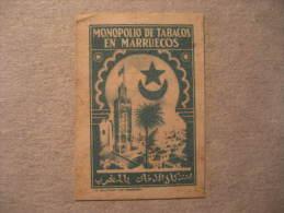 Tabaco Tobacco Green Blue Poster Stamp Label Vignette Viñeta Spain Colonies Area España Marruecos Morocco - Spanisch-Marokko