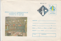 BOWLING, WORLD CHAMPIONSHIP, COVER STATIONERY, ENTIER POSTAL, 1980, ROMANIA - Bowls