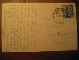 CEUTA 1959 To Barcelona Franco Stamp On Post Card Spain Colonies Area España Marruecos Morocco Maroc - Spanisch-Marokko