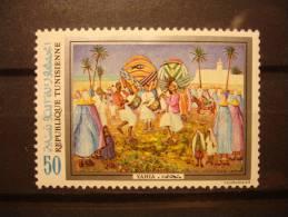TIMBRE NEUF TUNISIE - YAHIA - COURVOISIER - 50m. - Danse Musique Traditionnelles Dance MusicNEW STAMP TUNISIA - Tunisie (1956-...)