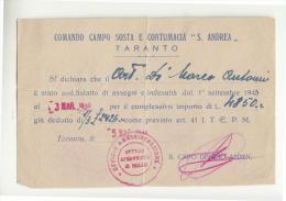 """DE310:MAGGIO 1945 TARANTO COMANDO CAMPO SOSTA E CONTUMACIA """"S.ANDREA""""-bollo ROSSO Uff.AMMINISTRATIVO Uff.SPROVVISTO BOLL - Dokumente"""