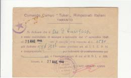 """DE311:MAGGIO 1945 TARANTO COMANDO CAMPO """"TUKER"""" RIMPATRIATI ITALIANI-bollo ROSSO Uff.AMMINISTRATIVO+STELLA VIOLA - Documents"""