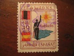 CADIZ Falange JONS Poster Stamp Label Vignette Viñeta España Guerra Civil War Spain - Vignette Della Guerra Civile