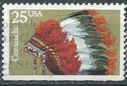 USA 1990 Indian Headdresses:  Comanche   25¢ USED SC 2503 YV 1911 MI 2100 SG 2537 - Gebraucht